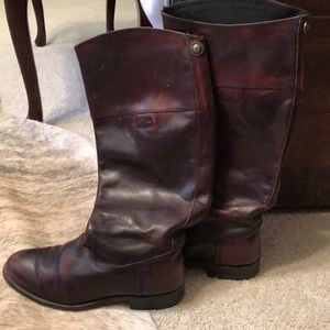 Frye leather riding boots cognac